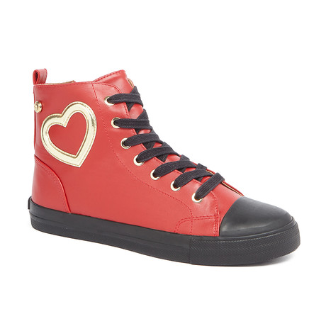 High-Top Leather Heart Sneakers // Red + Black (IT: 36)