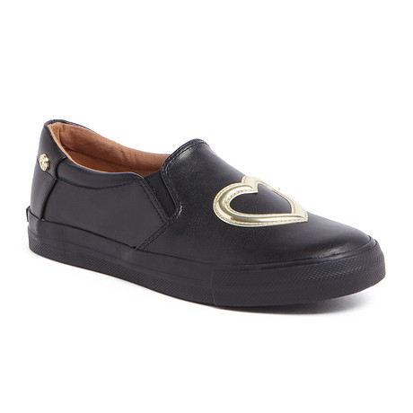 Leather Heart Slip-On // Black (IT: 35)