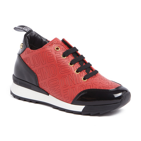 Love Moschino // High-Top Embossed Logo Sneaker // Red + Black (IT: 35)