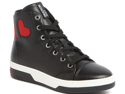 Photo of Love Moschino Designer Women's Shoes Leather Lace-Up Heart Sneaker // Black + Red (IT: 35) by Touch Of Modern
