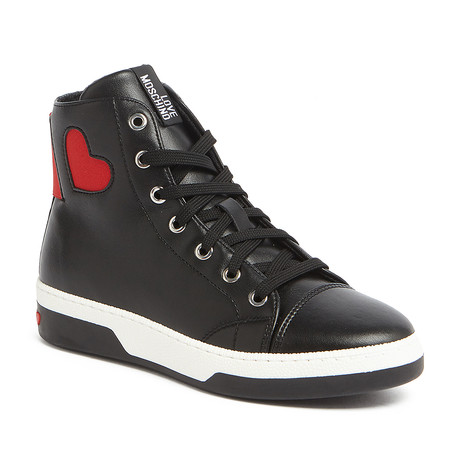 Leather Lace-Up Heart Sneaker // Black + Red (IT: 35)