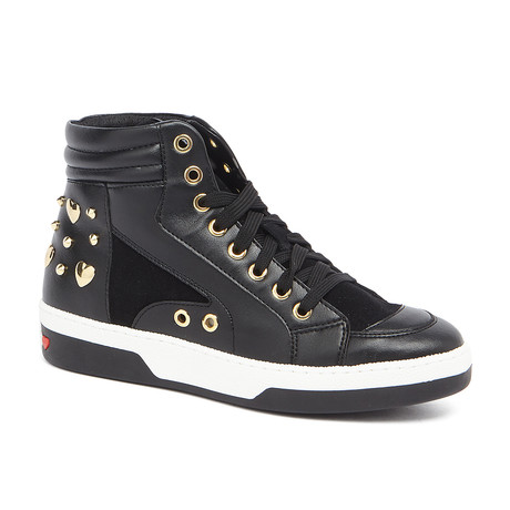 High-Top Leather Studded Sneakers // Black (IT: 35)