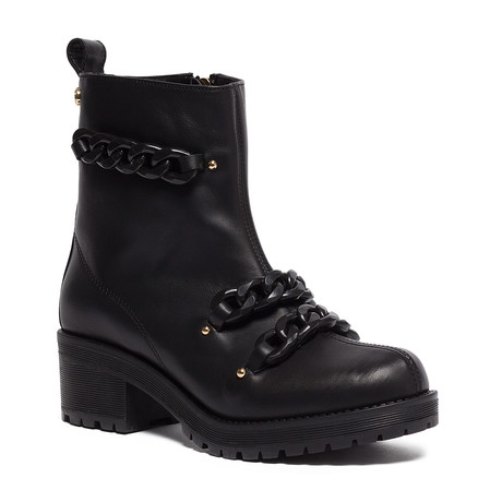 Block Heel Leather Chained Boot // Black + Black (IT: 35)