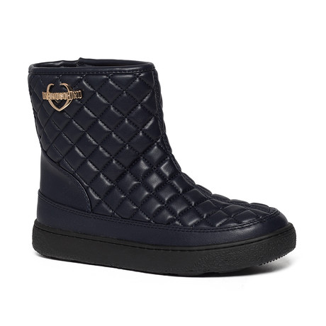 Quilted Leather Boot // Navy (IT: 35)