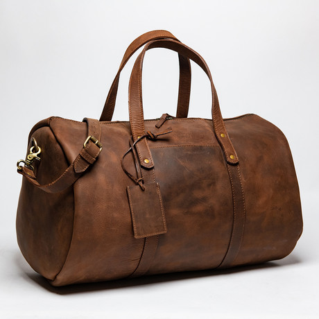 "Leather Gym Bag 20"" // Distressed Brown"