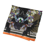 Givenchy // Abstract Floral Scarf // Green + Black + Multicolor