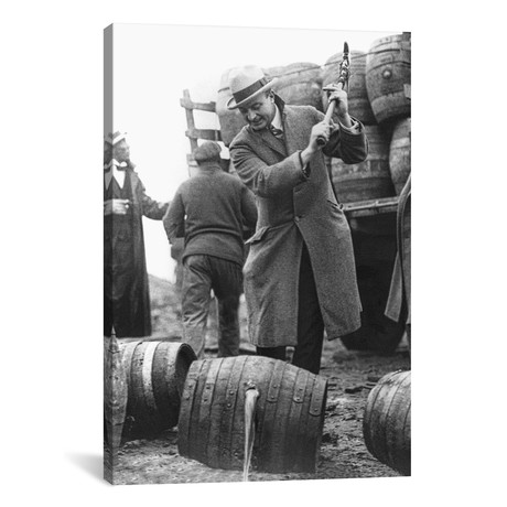 "Destroying Barrels Of Beer // American Photographer (12""W x 18""H x 0.75""D)"