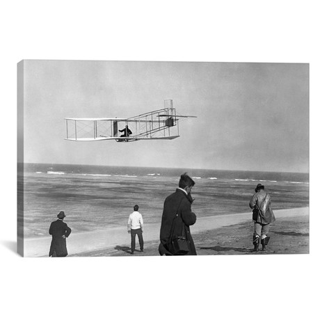 "1911 One Of The Wright Brothers Flying A Glider And Spectators On Ocean Beach Kill Devil Hills Kitty Hawk North Carolina USA // Vintage Images (18""W x 12""H x 0.75""D)"