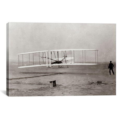 "1903 Wright Brothers' Plane Taking Off At Kitty Hawk North Carolina USA // Vintage Images (18""W x 12""H x 0.75""D)"