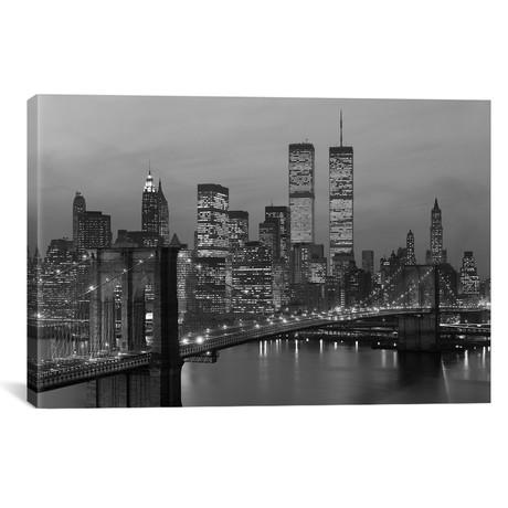 "1980s New York City Lower Manhattan Skyline Brooklyn Bridge World Trade Center // Vintage Images (40""W x 26""H x 1.5""D)"