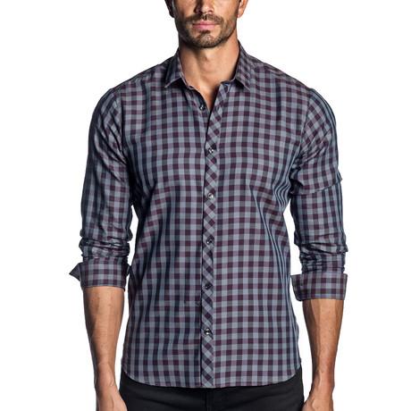 Woven Long Sleeve Shirt // Gray + Purple Check (S)