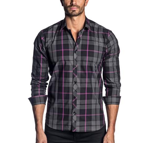 Woven Long Sleeve Shirt // Black + Purple Check (S)