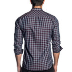 Woven Long Sleeve Shirt // Gray + Purple Check (XL)