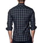 Woven Long Sleeve Shirt // Green + Purple + Black Check (2XL)