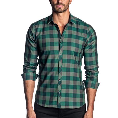 Woven Long Sleeve Shirt // Green + Black Check (S)