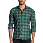 Woven Long Sleeve Shirt // Green + Black Check (L)