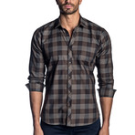 Woven Long Sleeve Shirt // Brown Check (M)