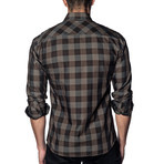 Woven Long Sleeve Shirt // Brown Check (XL)