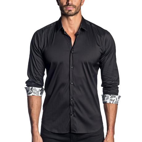 Woven Long Sleeve Shirt // Black + Plant Print Cuff (S)