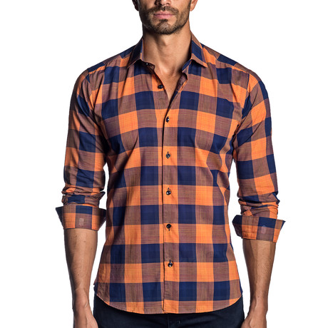Carl Plaid Long Sleeve Shirt // Orange + Navy (XS)