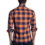 Carl Plaid Long Sleeve Shirt // Orange + Navy (XL)