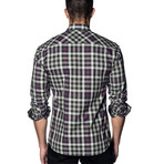 Woven Long Sleeve Shirt // White + Black + Purple Check (L)
