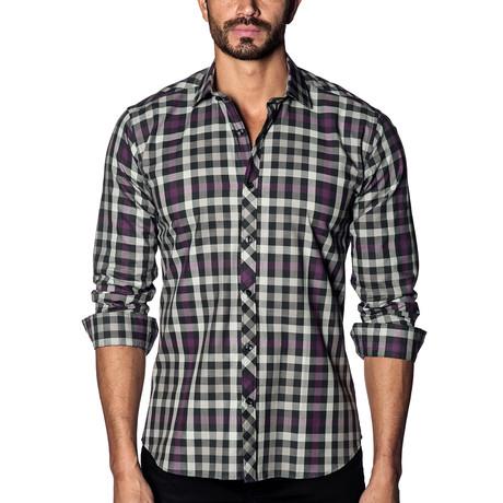 Woven Long Sleeve Shirt // White + Black + Purple Check (S)