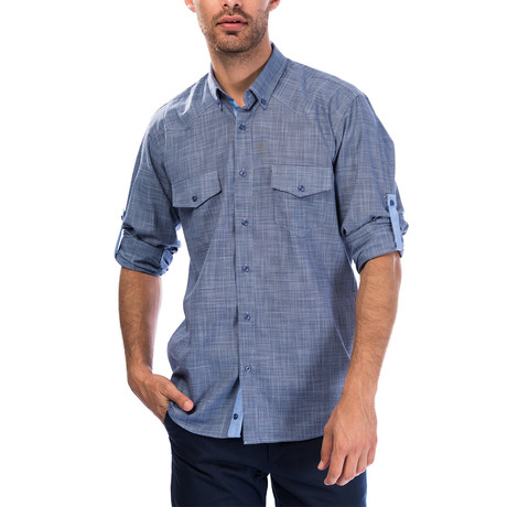 Milo Button-Up Shirt // Dark Blue (Small)