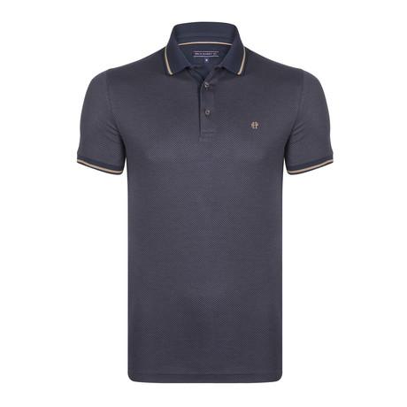 Blaine SS Polo Shirt // Navy + Brown (XL)