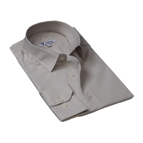 Solid Reversible Cuff Button Down Shirt // Beige (S)