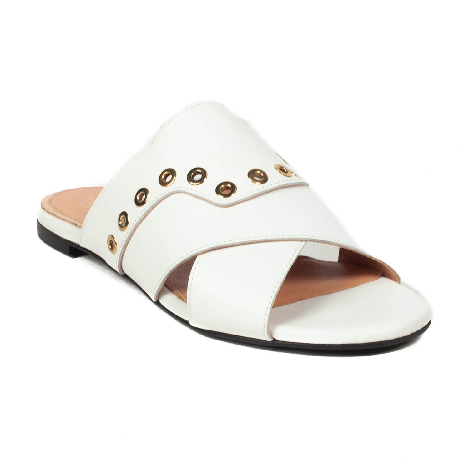 c16b27a23954 Robert Clergerie    Gavale Leather Slide Sandal    White (US  6.5 ...