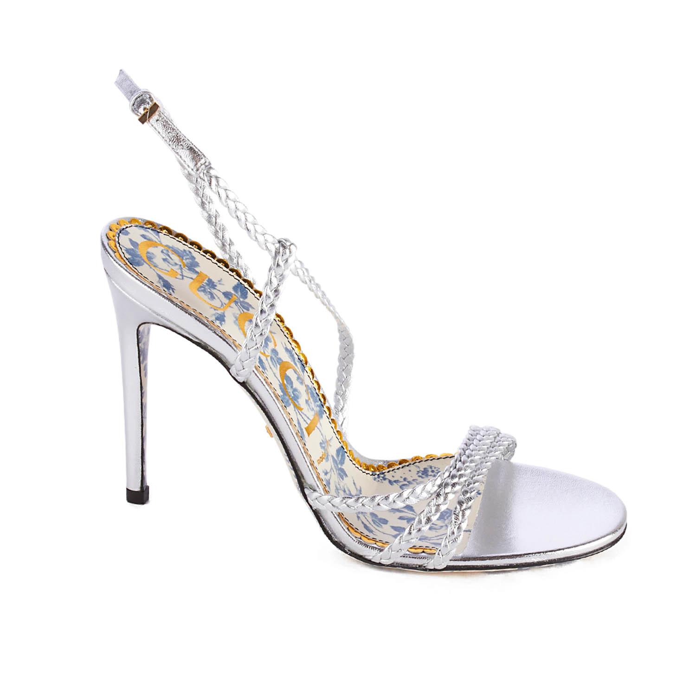 99a834f31f18 Gucci    Braided Metallic Leather Sandal    Silver (US  6) - Women s ...