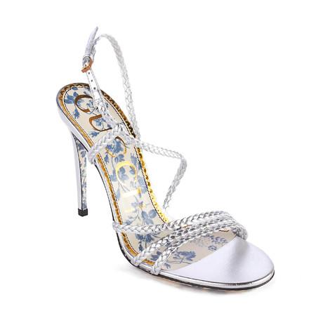 Gucci // Women's Braided Metallic Leather Sandal // Silver (US: 6)