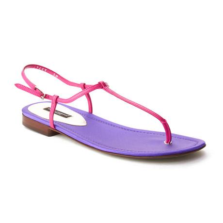Dolce & Gabbana // T-Strap Sandal // Purple + Pink (US: 6)