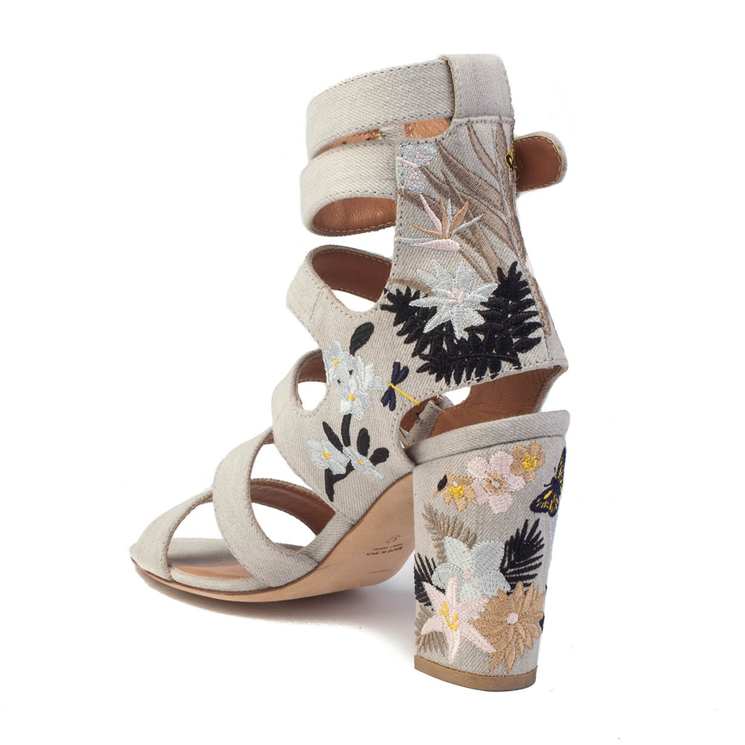 2a9cd155d1e Laurence Dacade    Dana Tropicale Embroidered Block Heel    Grey (US  6.5