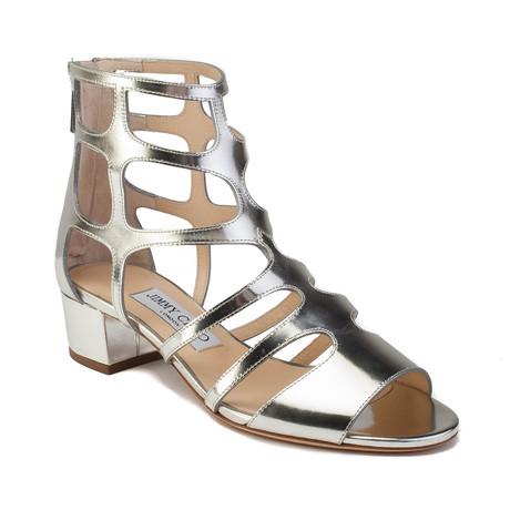 Jimmy Choo // 'Ren 35' Heeled Sandals // Silver (US: 5)