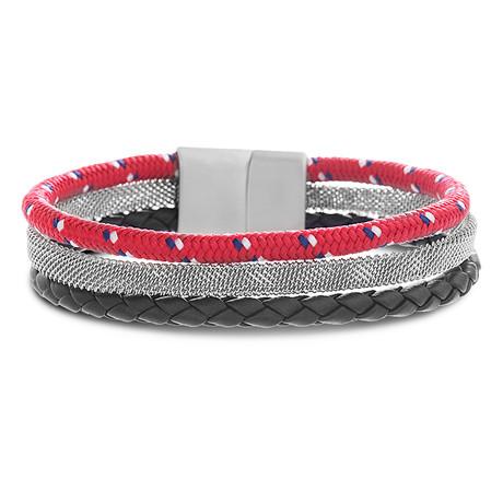 Triple Stranded Leather Magnetic Bracelet // Red + Black