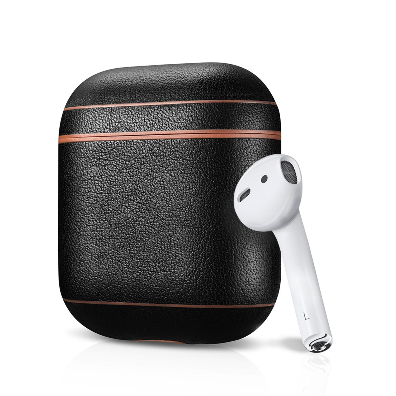 Designer Series // Leather AirPod Case (Black + Brown Trim