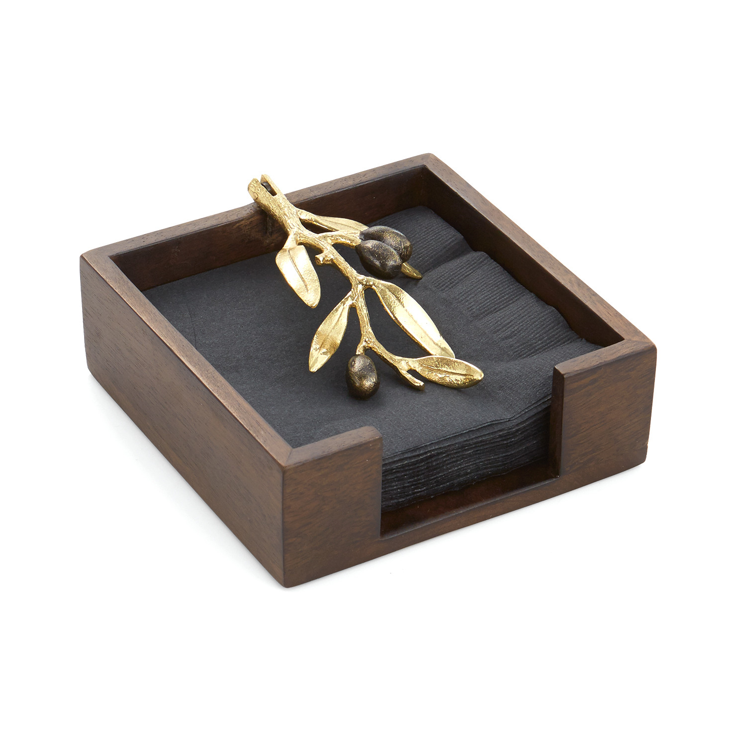 Olive Branch Cocktail Napkin Holder Gold Wood Michael Aram Touch Of Modern