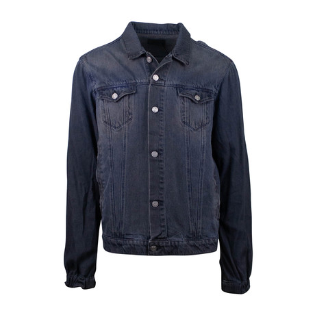 RTA // Contrast Sleeve Button Down Denim Jacket // Gray + Blue (XS)