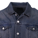 RTA // Contrast Sleeve Button Down Denim Jacket // Gray + Blue (L)