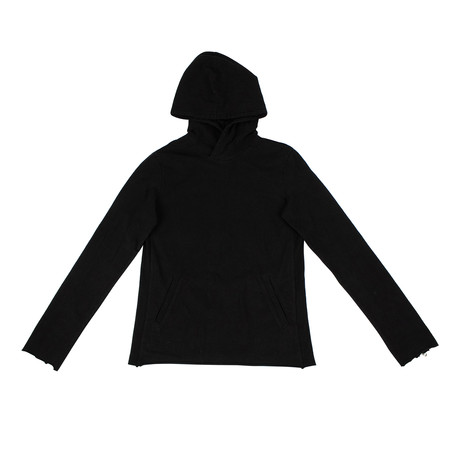 RTA // Cotton Rolled Hem Hoodie Sweatshirt // Black (XS)