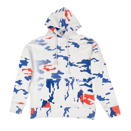 424 // Camo Hoodie Sweatshirt // White + Blue + Red (XS)