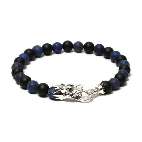 "The Siege of The Dragon Bracelet // Blue + Black Onyx (6"")"