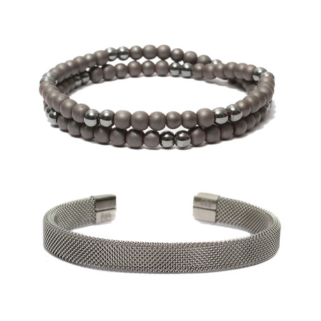 """Set of 2 // Beaded Wrap Bracelet + Steel Mesh Cuff Bracelet // Gray + Silver (6"""")"""