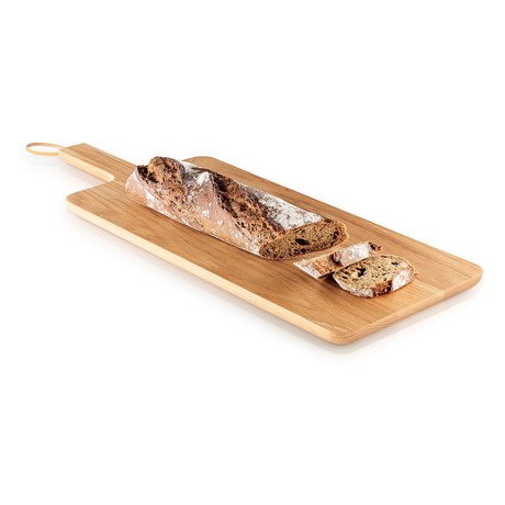 """Wooden Cutting Board + Leather Strap (12.6"""" x 9.4"""")"""