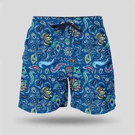 Paisley All Over Swim Short // Blue (XS)