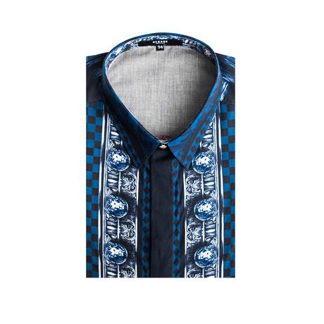 Cotton Checkered Lion Pattern Dress Shirt // Blue + Black (Small)