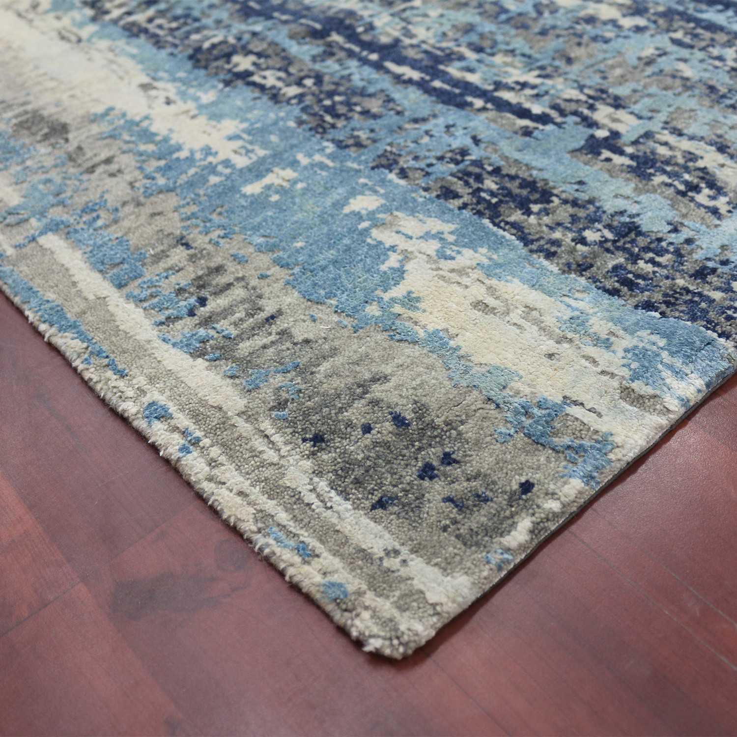 Abstract Carved Hand Knotted Area Rug Blue Gray 10