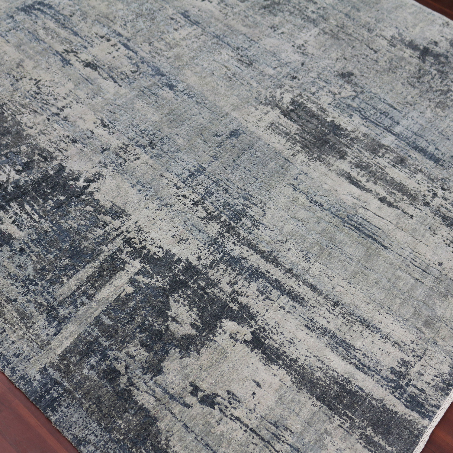 Abstract Hand Knotted Area Rug Charcoal 10 X 14
